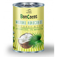 Молоко кокосовое органическое, BONCOCOS, жирность 17%, 400мл, ж/б