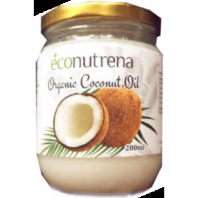 Органическое кокосовое масло, Econutrena, 200 мл, ст/б