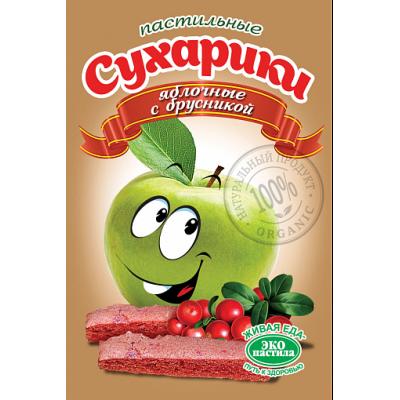 Пастильные сухарики Яблочные с брусникой, Эко пастила, 60 г