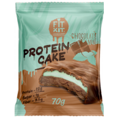 Протеиновое пирожное Шоколад-Мята, FitKit, 70 г