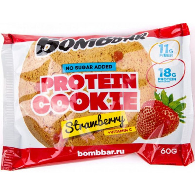 Печенье протеиновое Клубника, Bombbar, 60 г