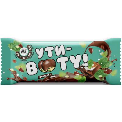 "Протеиновый батончик со вкусом ""Шоколад-мята"" с кусочками мармелада, Ути-Booty, 60 г"