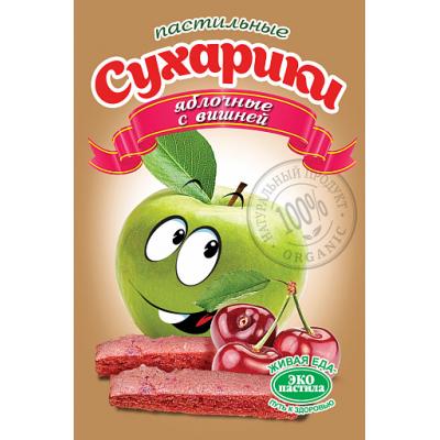 Пастильные сухарики Яблочные с вишней, Эко пастила, 60 г