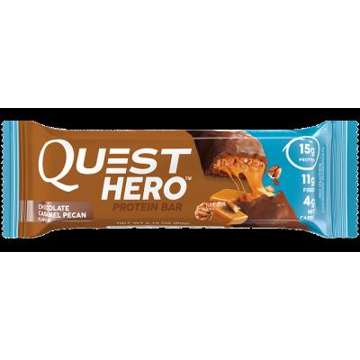 Протеиновый батончик Chocolate Caramel Pecan Шоколад Карамель Пекан, Quest Hero Bar, 60 г