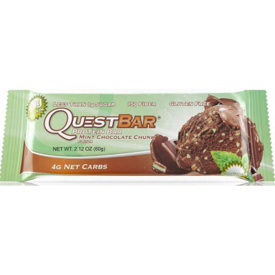 Протеиновый батончик Mint Chocolate Chunk Мята и Шоколад, Questbar, 60 г