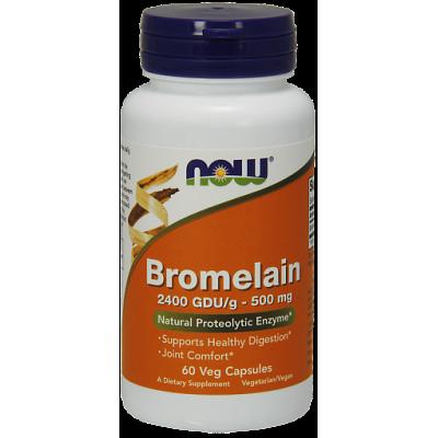Бромелайн NOW 500 мг, 60 вег. капс.