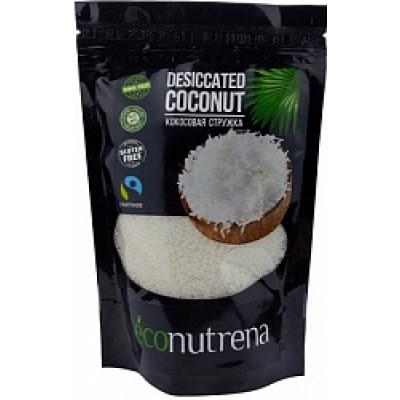 Кокосовая стружка органическая, низкой жирности, диетическая, Econutrena, 250 г