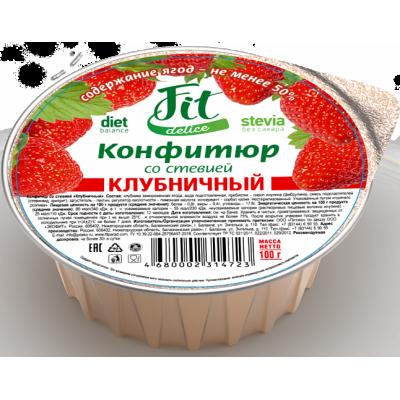 Конфитюр клубничный со стевией, FitDelice, 100 г