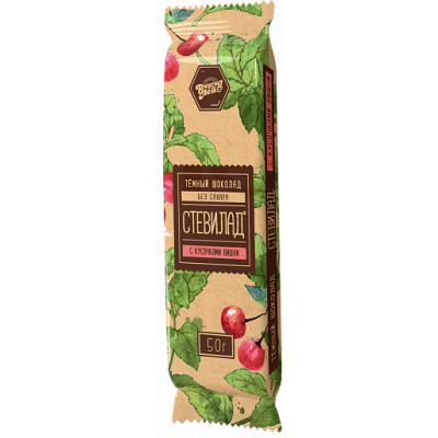"Стевилад темный шоколад ""Вишня"" №5, Вкуснолето, 50 г"