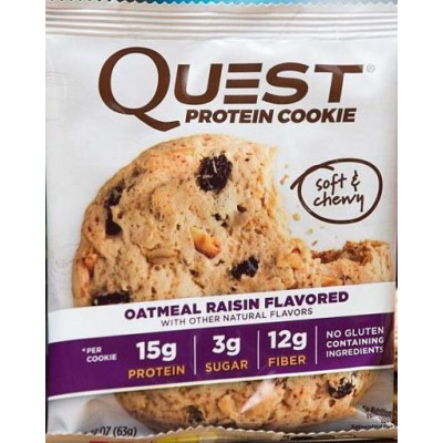 Печенье Oatmeal & Raisin, Quest Cookie, 63 г