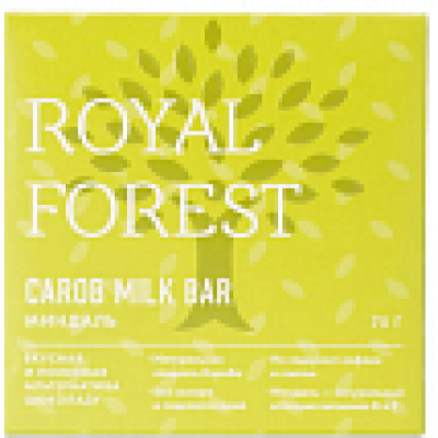 Шоколад из кэроба с миндалем, Royal Forest, 75 г