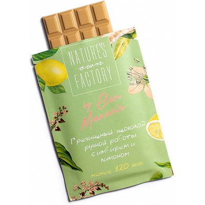 Белый шоколад с гречишным чаем, лимоном и имбирем, Nature's own factory, 20 г