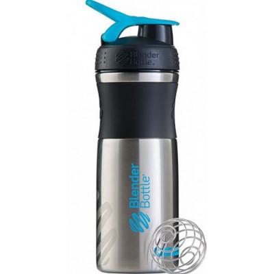 Шейкер BlenderBottle® SportMixer, 828 мл черный/ голубой из нержавеющей стали