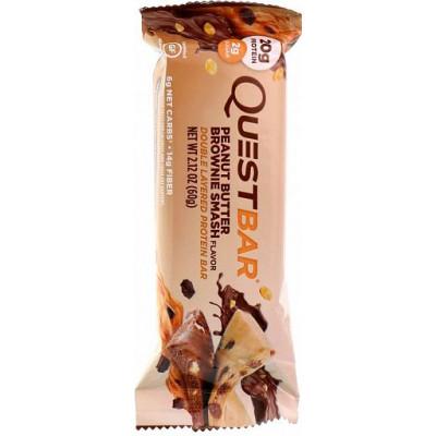 Протеиновый батончик (двухслойный) Peanut Butter Brownie Smash, QuestBar, 60 г