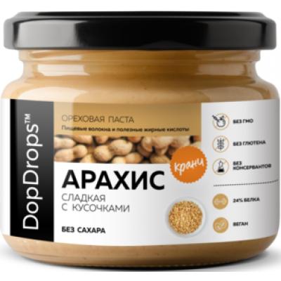 Паста Арахисовая Кранч с экстрактом монк-фрукта, DopDrops, 250 г, ст/б