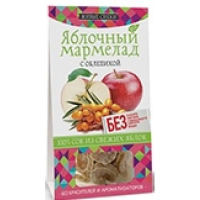 """Яблочный мармелад """"С облепихой"""", Живые Снеки,100 г"""