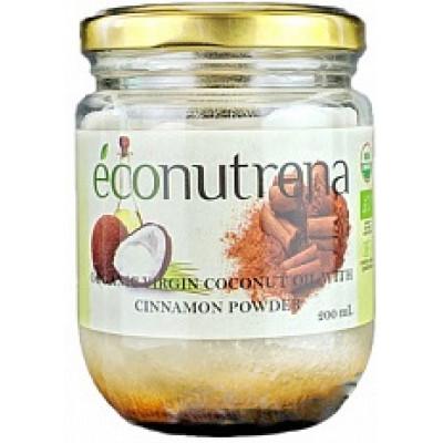 Органическое кокосовое масло холодного отжима с цейлонской корицей, Econutrena, 200 мл, ст/б