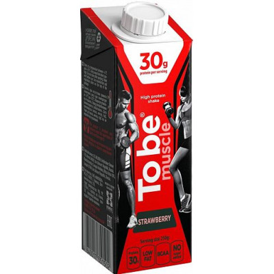 "Протеиновый коктейль молочный ""To Be Muscle"" со вкусом Клубники со сливками, To Be, 250 г"