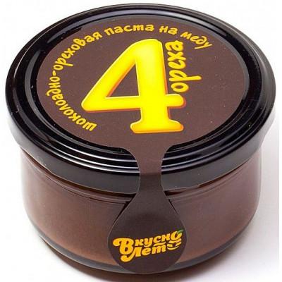 """Шоколадно-ореховая паста на меду (темный шоколад) """"Четыре ореха"""", Вкуснолето, 170 г"""