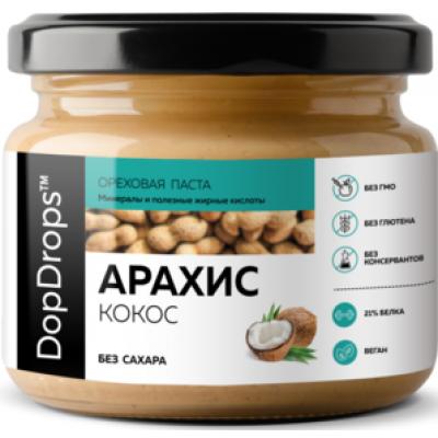 Паста Арахисовая с кокосом, DopDrops, 250 г, ст/б