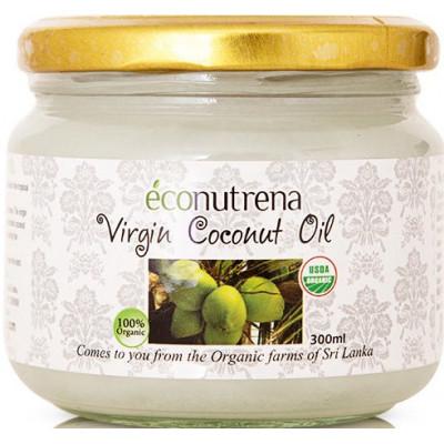 Органическое кокосовое масло холодного отжима, Econutrena, 300 мл, ст/б
